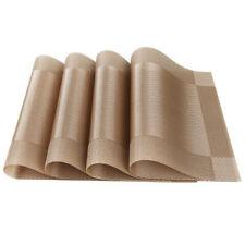 4pcs Placemats Vintage PVC Insulation Plaid Dining Table Mats Pad Restaurant Bar Gold