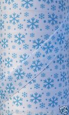 "5 yds 1"" CHRISTMAS BLUE SNOWFLAKE GROSGRAIN PRINTED RIBBON SNOWFLAKES"