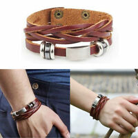 New Fashion Men Women Leather Wrap Braided Wristband Cuff Punk Bracelet Bangle