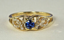 .46 CT Total Weight Genuine Diamond and Sapphire Ring – 10KT Gold