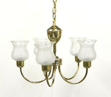 "VINTAGE 60's NEW 5-Light Frosted GRAPE Glass SHADE Chandelier 20"" POLISHED BRASS"