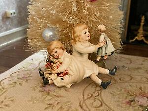 Vintage Miniature Dollhouse 1:12 Victorian Children Girls with Dolls Dummy Board