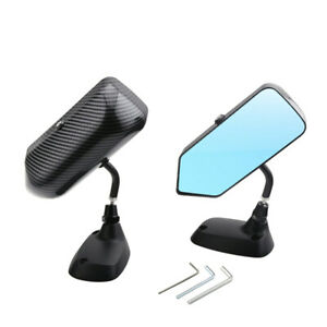 F1 Style Racing Drift Car Side Rearview Mirror Carbon Fiber Look Blue Glass 2Pcs