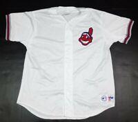 Vtg Cleveland Indians MLB Majestic Nylon Mesh Chief Wahoo 90s White Jersey XL