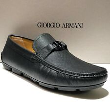 Armani Black Leather 8 41 Men's Bit Loafers Driver Dress Shoes Fashion Pebbled
