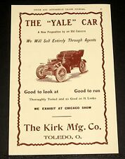 "1903 OLD MAGAZINE PRINT AD, THE ""YALE"" CAR, THROUGHLY TESTED, GOOD AS IT LOOKS!"