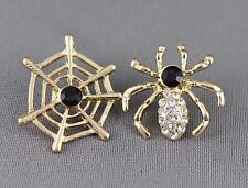Spider web earrings Gold Black halloween earrings stud post earrings