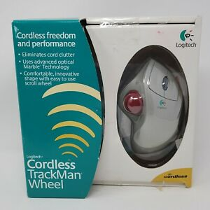 Logitech Cordless TrackMan Ergonomic Wheel Mouse Open BOx Battery not included