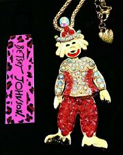 Betsey Johnson Animated Crystal Clown Pendant Gold Chain Necklace Free Gift Bag