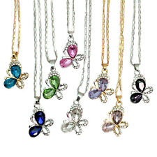 Gold Or Silver Plated Crystal Butterfly Necklace Pendant Various Colours