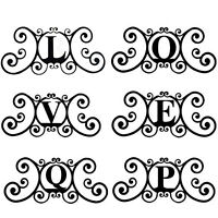 Wrought Iron Metal Scrolled Monogram Initial Letter Family House Plaque Decor