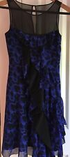 Karen Millen Dress Royal Blue with Black Ruffle and Lace Sz 2 US