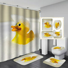 Bubble Yellow Duck Door Bath Mat Toilet Cover Rugs Shower Curtain Bathroom Decor