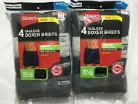 Hanes Men's Tagless Boxer Briefs 8 PACK SIZE S M L XL Black And Gray NEW Cotton