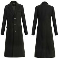 Mens Combat Single Breasted Wool Blend Military Long Trench Coat Leisure Ske15
