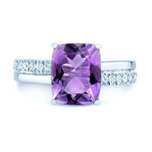 14k White Gold Cushion Purple Amethyst Diamond Solitaire Ring 3.19 TCW Natural