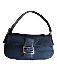 Vintage FENDI Cloth Black baguette bag