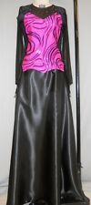 BLACK VELVET-FLOCKED SWIRL DESIGN ON HOT PINK STAGE COSTUME--#2 SIZE MED/LARGE