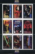 Turkmenistan Star Wars Stamps 1999 MNH Phantom Menace Anakin Skywalker 9v M/S