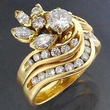Bold Fancy 2 RING 18k Solid Yellow GOLD & DIAMOND BRIDAL SET Val=$5930 Sml Sz I