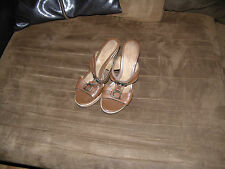 womens faded glory shoes size 8 genuine leather wedge heel