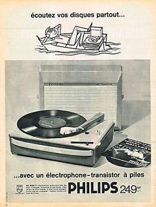 PUBLICITE ADVERTISING 124  1962  PHILIPS  éléctrohone tourne-disque  à piles