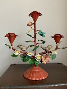 Vintage Candle Sticks Cast Iron Birds And Flowers Very Decorative