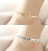 ARROW BEADED ANKLET ANKLE BRACELET CHAIN ADJUSTABLE SILVER & GOLD UK SELLER