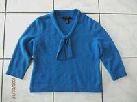 Jones Wear Blouse Cashmere Wool Blend Blue Tie Neckline Soft Feel Large D159