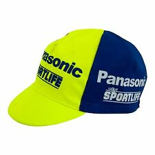 Panasonic Sportlife Retro Cycling Cap Vintage Yellow and Blue Made in Italy