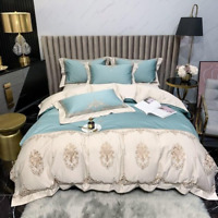 Meridian Embroidered Duvet Cover Set Egyptain Cotton Size 4Pcs Bedding Set