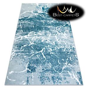 Modern Designer cheap Rug 'MEFE' Stone structural CREAM / BLUE Best carpet
