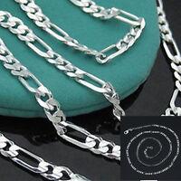 925 Silver 2mm Italy Figaro Chain Women Men Necklace 16-30inch Charm Jewwelry