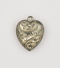 Vintage Sterling Silver Puffy Heart I LOVE U Charm Non-Engraved