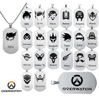 Game Overwatch 24 Heros Stainless Steel Necklace Pendant Collection Jewelry Gift