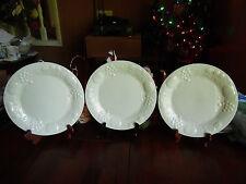 3  PCS. BELAGIO DINNER PLATES DESIGN RAISED EMBOSSED FRUIT & LEAVES WHITE