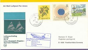 "JAMAICA 1976 First Flight of Lufthansa w DC 10 ""KINGSTON - NEW YORK - FRANKFORT"""