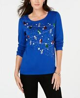 Karen Scott Longsleeve Merry Lights Scoopneck Top Blue PS