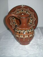 CERAMIC PITCHER WITH UNDER PLATE BULGARIAN RED CLAY ART POTTERY