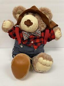 XAVIER ROBERTS Vintage FURSKINS Plush Bear Plaid Shirt Hat
