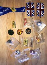 Lot of 12 Enamel Law Enforcement/police Hat Pins/lapel Pins & 2 British Flags