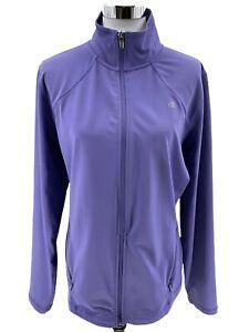 CHAMPION Womens DOUBLE DRY Full Zip Track Jacket Sweatshirt Striped Purple Sz XL