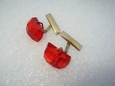 Vintage Russian Silver 875 Gold Plated Synthetic Rybi Cufflinks 10,3 gr.