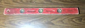 "Antique Vtg Red Wood Wooden Carpenter Level Hand Tool Mayes Port Austin MI 28"""