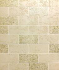 Beige White Gold Tile Effect Wallpaper Glitter Brick Luxury Washable Vinyl