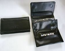 Black Tobacco Pouch Faux Leather  Fully Lined Slot for Rolling Paper