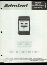 Rare Orig Factory Admiral R360T R460R Sonar TV Remote Control Service Manual