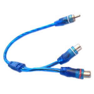 """7"""" RCA Audio Cable """"Y"""" Adapter Splitter 2 Female to 1 Male Plug Cable blue"""