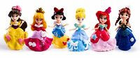 6pcs Disney Princess Mini Dolls Resin Character Figures Toy Miniature 90mm 2019