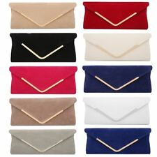 Womens envelope soft touch vintage suede party wedding clutch bag